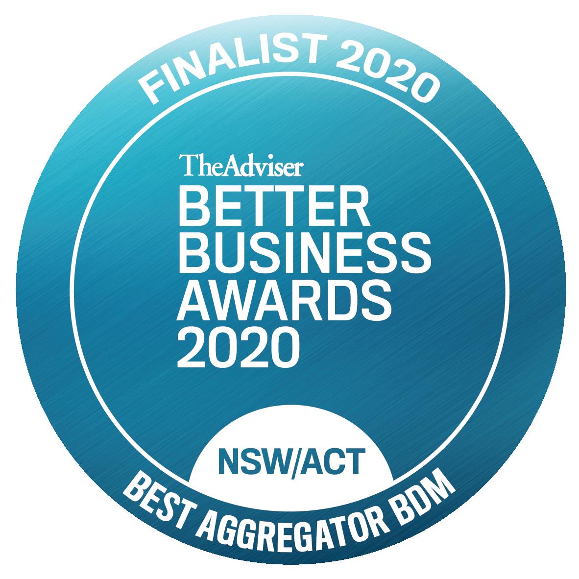 BBA 2020 finalist NSW Best Aggregator BDM