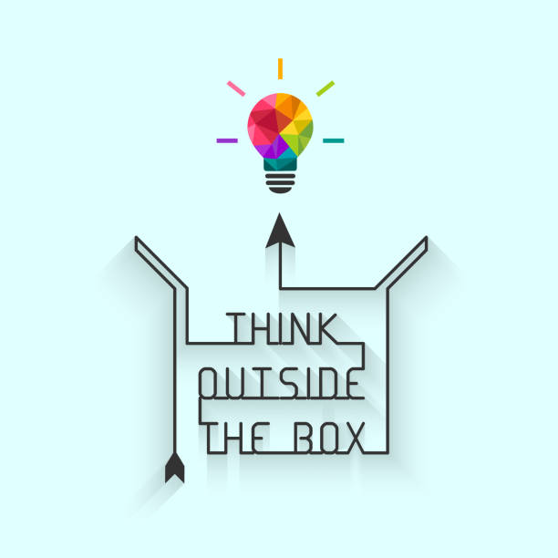 Think outside the box concept with saying and colorful lightbulb